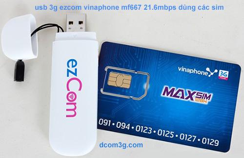 usb 3g ezcom vinaphone mf667 dùng các sim giá rẻ